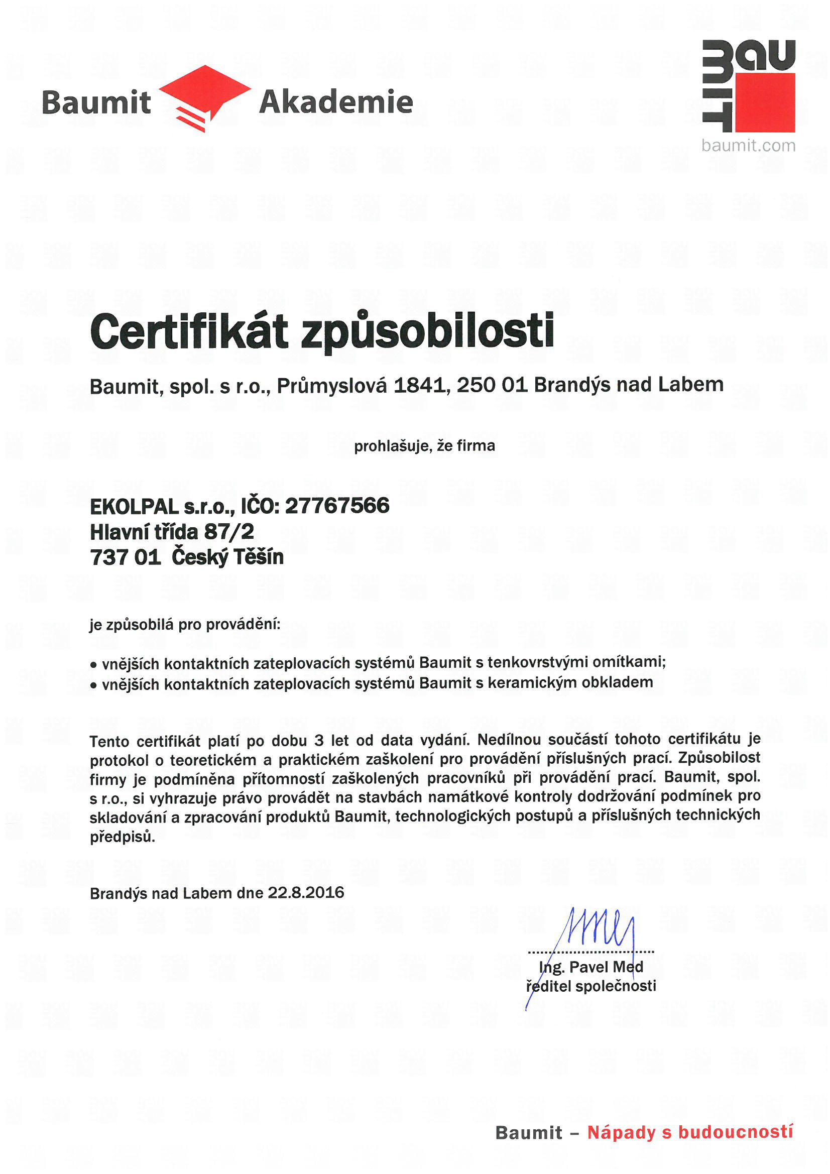 Baumit certifikát