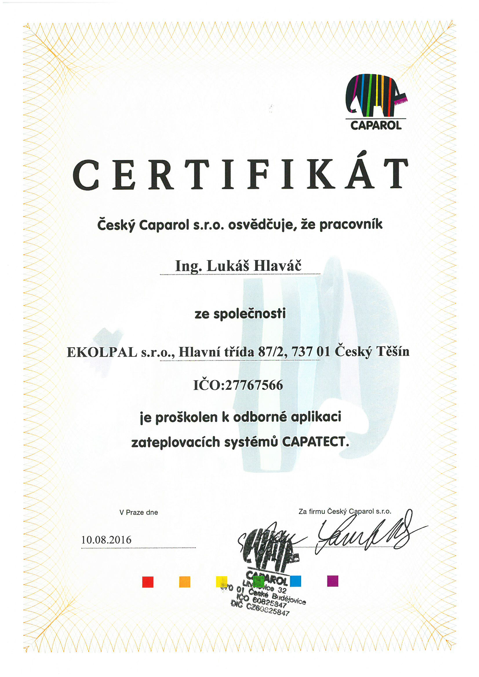Caparol certifikát