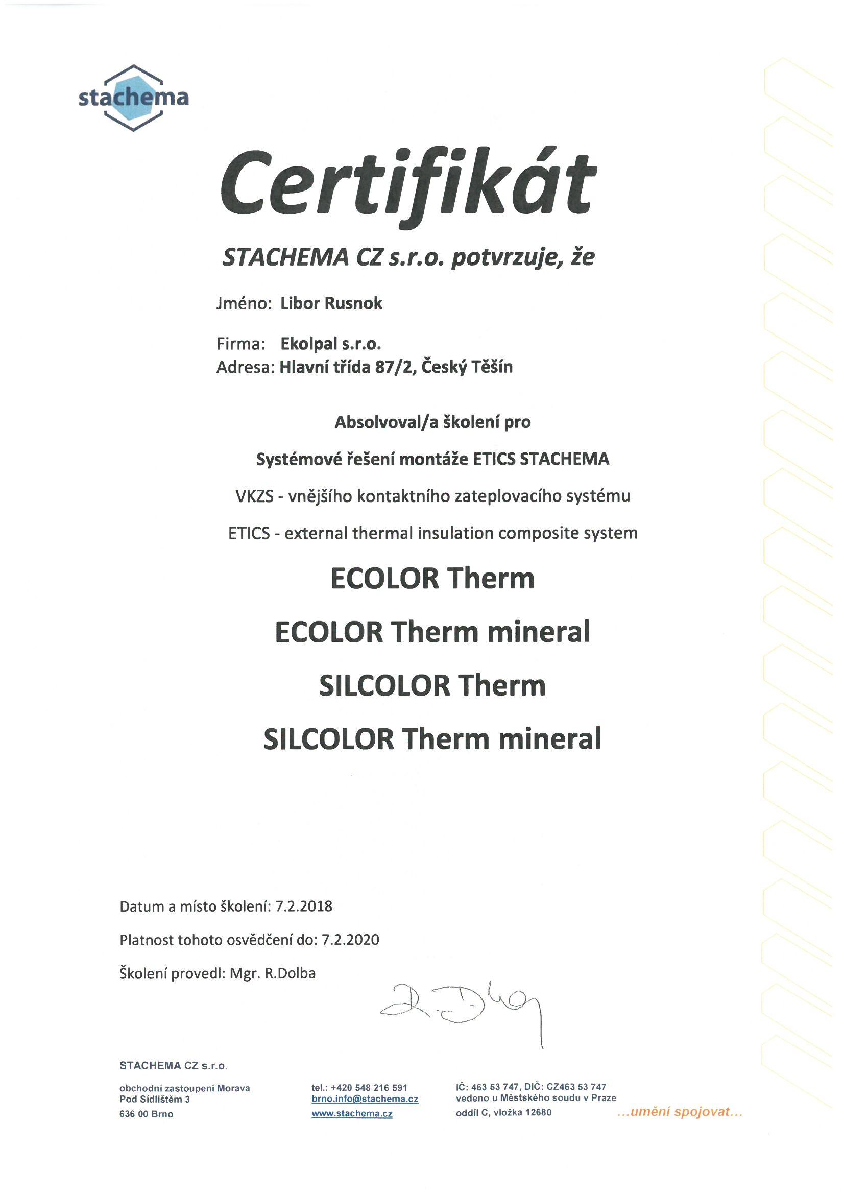 Stachema certifikát