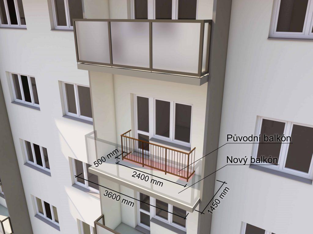 Rozměry balkónu před apo revitalizaci